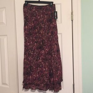 NWT Style & co burgundy, pink, & brown sheer skirt